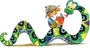 Kid riding snake